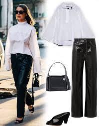 leather pants outfit ideas popsugar