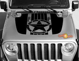 Jeep Gladiator Jt Wrangler Jl Jlu Hood Military War Star Vinyl Decal Sticker