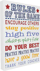Amazon Com The Kids Room By Stupell Rules Of The Game Wall Plaque 16 X 20