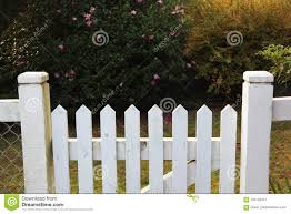 Wooden Picket Fence Gate In White Stock Image Image Of Daytime Quiet 104145377