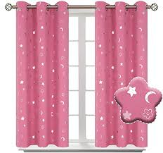 Amazon Com Bgment Moon And Stars Blackout Curtains For Girls Bedroom Grommet Thermal Insulated Room Darkening Printed Kids Curtains 2 Panels Of 42 X 45 Inch Pink Home Kitchen