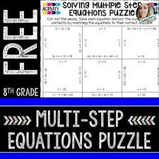 multi step equations puzzle from
