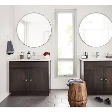 linear wood base bathroom vanity