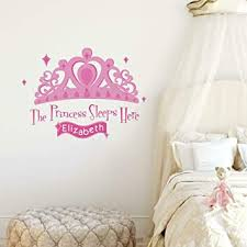 Amazon Com Roommates Princess Sleeps Here Peel And Stick Giant Wall Decal With Personalization Home Improvement