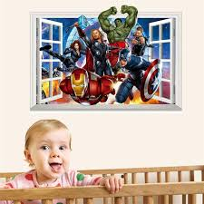 Super Hero 3d Window Wall Stickers For Kids Room Decoration Avengers Movie Roles Home Decals Art Peel Amp Stick Removable Vinyl Art Stickers Vinyl Clings For Walls From Chairdesk 6 85 Dhgate Com