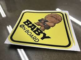 Chewbacca Baby On Board Star Wars Chibi Warning Window Decal Sticker Vinyl Ebay