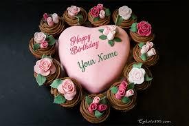 romantic flower heart birthday cake by