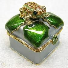 swarovski crystal trinket green frog