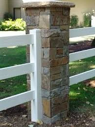 White Ranch Rail Fencing With Brick Pillars Images Google Search Backyard Fences Outdoor Stone Brick Fence