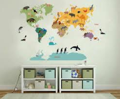 Safari Animal World Map Wall Sticker Nursery Decals Kids Room Home Decor Gift Ebay