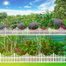 24pcs White Flexible Plastic Garden Picket Fence Lawn Grass Edge Edging Border Alexnld Com