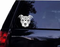 Amazon Com Tshirt Rocket Sugar Skull Pit Face Pit Bull Dog Terrier Vinyl Car Decal Laptop Decal Car Window Wall Sticker 8 Automotive