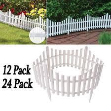 12 24pcs White Flexible Plastic Garden Picket Fence Lawn Grass Edge Edging Border 24 48 Ft Walmart Com Walmart Com