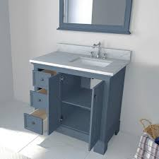 bath vanity in gray with marble