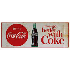 Amazon Com Retro Planet Drink Coca Cola Better With Coke 1960s Wall Decal 24 X 9 Distressed Home Kitchen