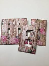Amazon Com Pink Roses On Distressed White Washed Wood Light Switch Covers Light Switch Plate Outlet Covers Outlet Plates Home Decor Wall Art Handmade