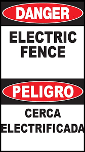 Danger Electric Fence Sign English Spanish Zing