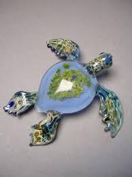 blue sea turtle sea glass art sculpture