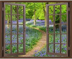 Window Frame Mural Bluebell Wood Huge Size Peel And Stick Fabric Illusion 3d Wall Decal Photo Sticker Amazon Com
