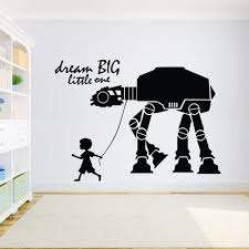 Amazon Com Star Wars Wall Mural Dream Big Little One Wall Decal Kids Room Nursery Decor Removable At At Walker Vinyl Wall Stickers Home Kitchen