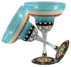 mosaic carnival margarita glasses set