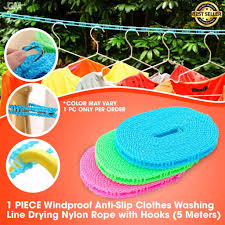 Japan House 5 Meters Windproof Anti Slip Clothes Washing Line Drying Nylon Rope With Hooks 1 Pc Co Shopee Philippines