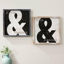 Romantic Ampersand Personalized Whitewashed Wood Wall Art 12x12 Romantic Gifts