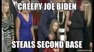 creepy joe biden steals second base | Make a Meme