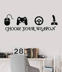 Joystick Gamer Vinyl Wall Decal Quote Video Game Play Room Esports Sti Wallstickers4you