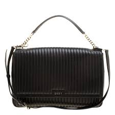 dkny black pinstripe quilted leather