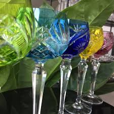 6x crystal wine glasses bohemian cut to