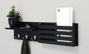 wall shelf and mail holder with 3 hooks