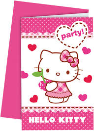 6 Tarjetas De Invitacion Con Sobres Hello Kitty Amazon Es