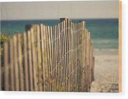 Sand Dune Fence On Beach Wood Print By Sharondipity Photography