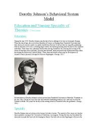 Dorothy Johnson's Behavioral System Model Wiki | System ...