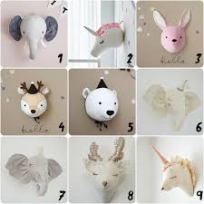 3d Felt Stuffed Grey Fox Animal Head Wall Hanging Baby Kids Room Decor Gray For Sale Online Ebay