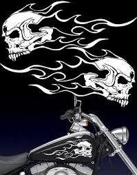 Motorcycle Flaming Fanged Skull Gas Tank Badge Vinyl Decals Fits Harley Ebay