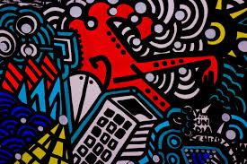 multicolored doodle art street art