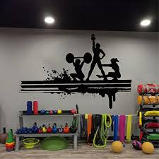 Amazon Com Fitness Club Wall Sports Fitness Gym Health Muscle Kettlebell Dumbbell Wall Decor Wall Decal Window Sticker Vinyl Sticker Handmade T771 Handmade
