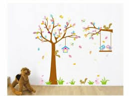 Swing Tree Bird Squirrel Wall Stickers Decal Nursery Kids Play Room Stickers Ebay