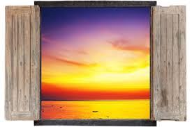Window Wall Sticker Decal Vinyl 3d Sunset Sun Sunrise Home Art Room Decor Home Garden Decor Decals Stickers Vinyl Art