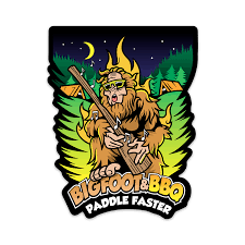 Bigfoot Bbq Paddle Faster Sticker Outdoor Recreational Apparel Brb