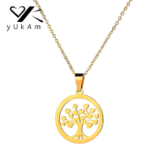yukam simple gold stainless steel round