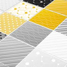 Tiles Stickers Yellow Gray Pack Of 32