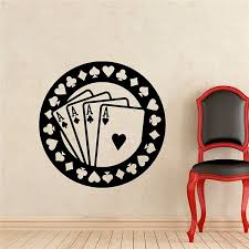Poker Wall Decal Aces Casino Play Room Vinyl Sticker Holdem Cards Game Gaming Nursery Wall Art Mural Diy Wish