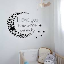 I Love You To The Moon And Back Wall Decal Classic Quote Stars Pattern Moon Vinyl Nursery Home Decor Stickers Diy Wallpaper Z926 Wall Stickers Aliexpress