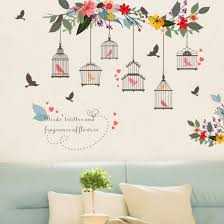 Shop Removable Flower Bird Birdcage Wall Art Sticker Decal Living Room Home Diy Decor Online From Best Wall Stickers Murals On Jd Com Global Site Joybuy Com