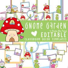gnome garden classroom decor theme pack