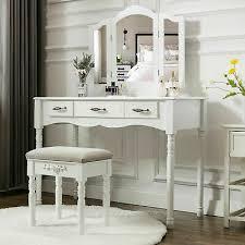 white vanity makeup table set folding