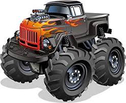 Amazon Com Large Manly Dangerous Monster Truck Cartoon Vintage Black Car With Flames Vinyl Sticker All Sizes Automotive